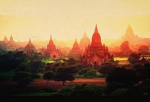coucher de soleil sur la plaine de Bagan-Myanmar