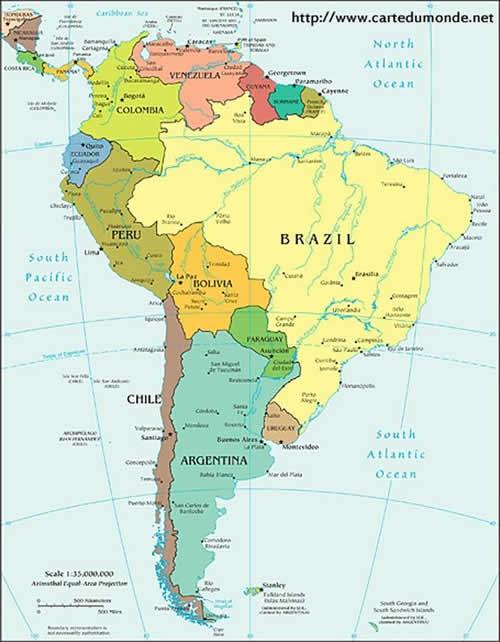 Carte des Actuels Pérou et Bolivie